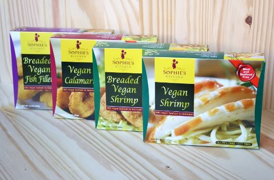 Sophie's Kitchen Vegan Seafood, $6.39 (assorted options) @veganessentials.com