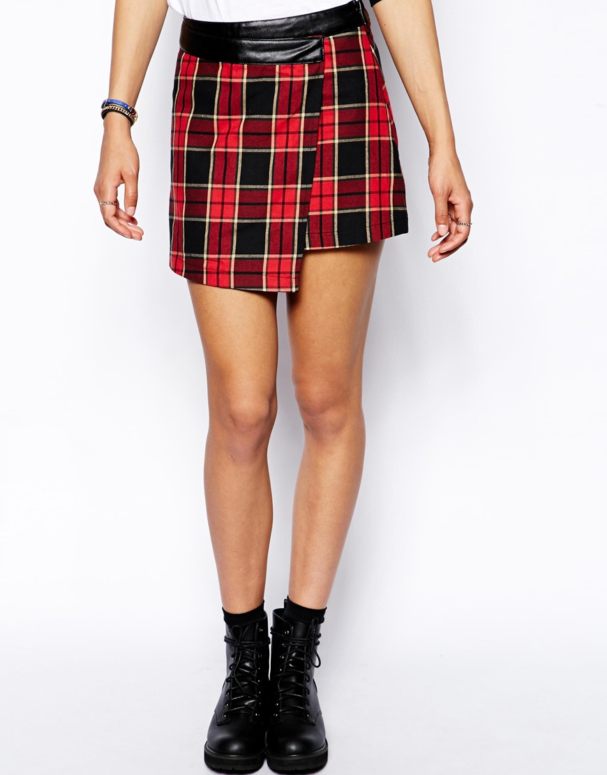 Neon Rose Plaid Wrap Mini Skirt With Vegan Leather, $28 @asos.com