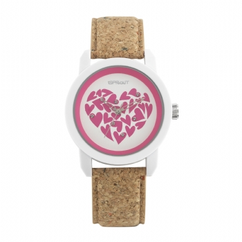Pink Hearts Corn Resin Dial with Cork Strap, $45 @sproutwatches.com