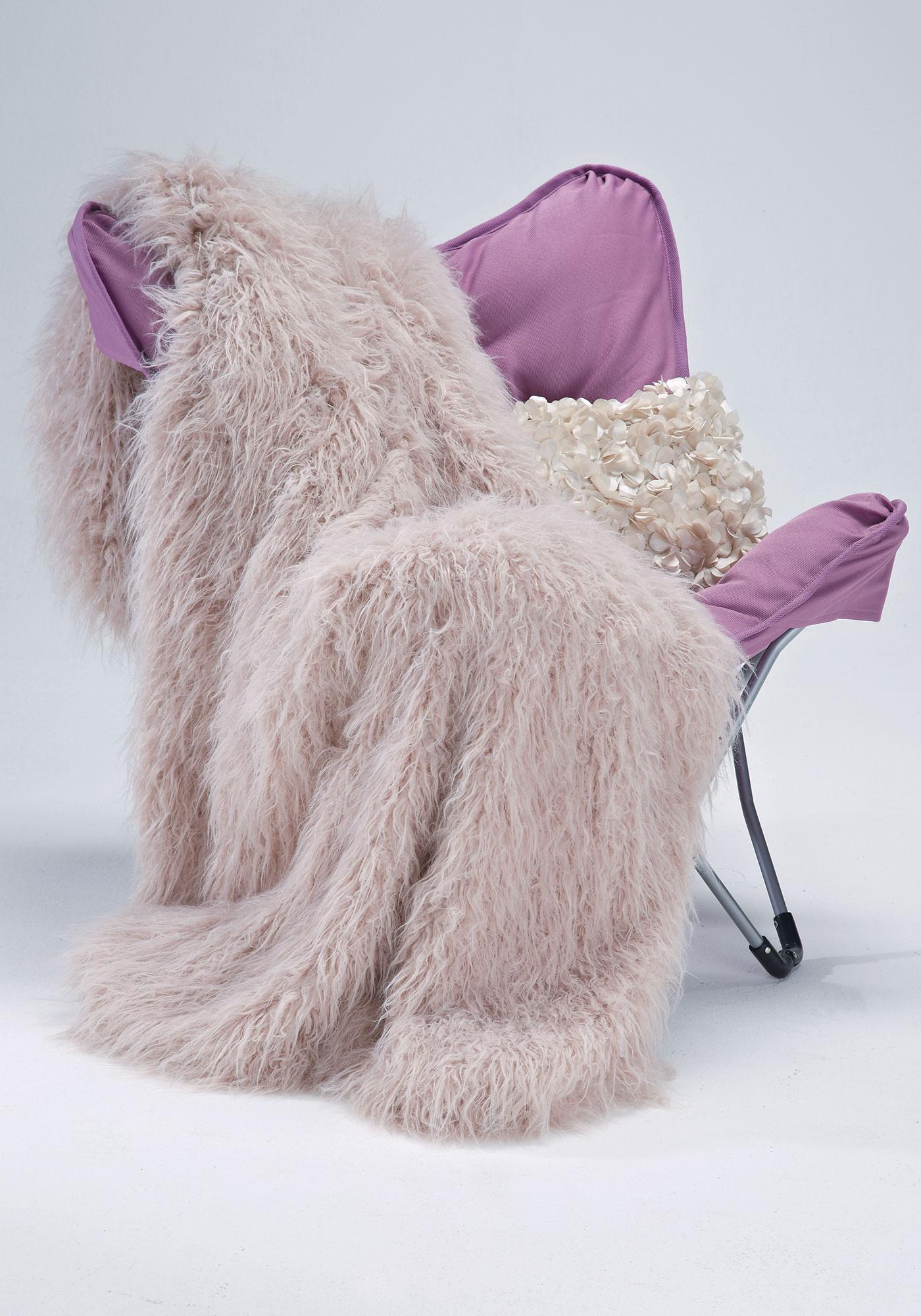 Mauve Tibetan Lamb Faux Fur Throw, $99 @fabulousfurs.com