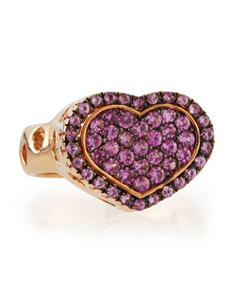 Rose Gold Pink Sapphire Heart Ring by Nanis, $2500 @lastcall.com