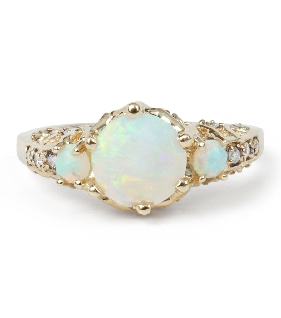 Maniamania Ceremonial Ring, Opal & Conflict-Free Diamonds, $2900 @catbirdnyc.com