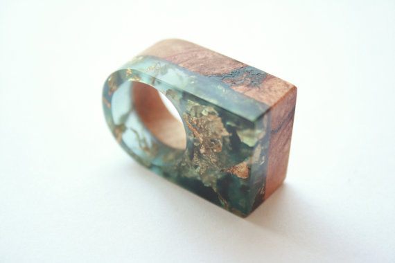Ring from Australian wood and resin with embedded gold leaf flakes by Britta Boeckmann , $43.87 @etsy.com