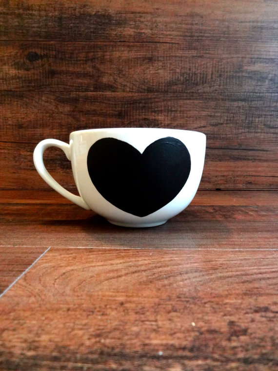 Ceramic Chalkboard Heart Mug (you can write in love notes daily!) $12 @etsy.com
