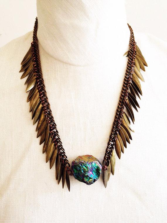 Titanium Quartz Crystal Festival Necklace by Francis Frank, $45 @etsy.com