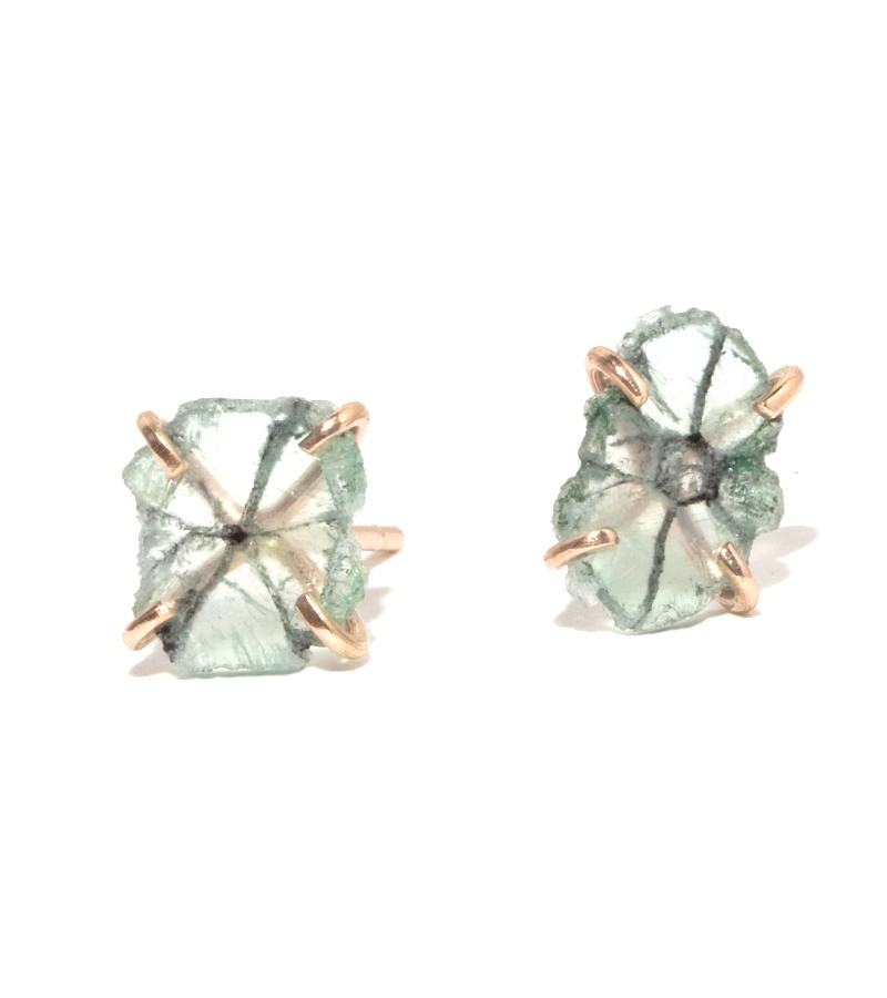 Recycled Gold Trapiche Emerald Slice Stud Earrings, $600 @melissajoymanning.com