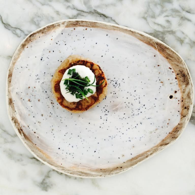 Buckwheat Blini with Almond Cream and Hijiki Caviar