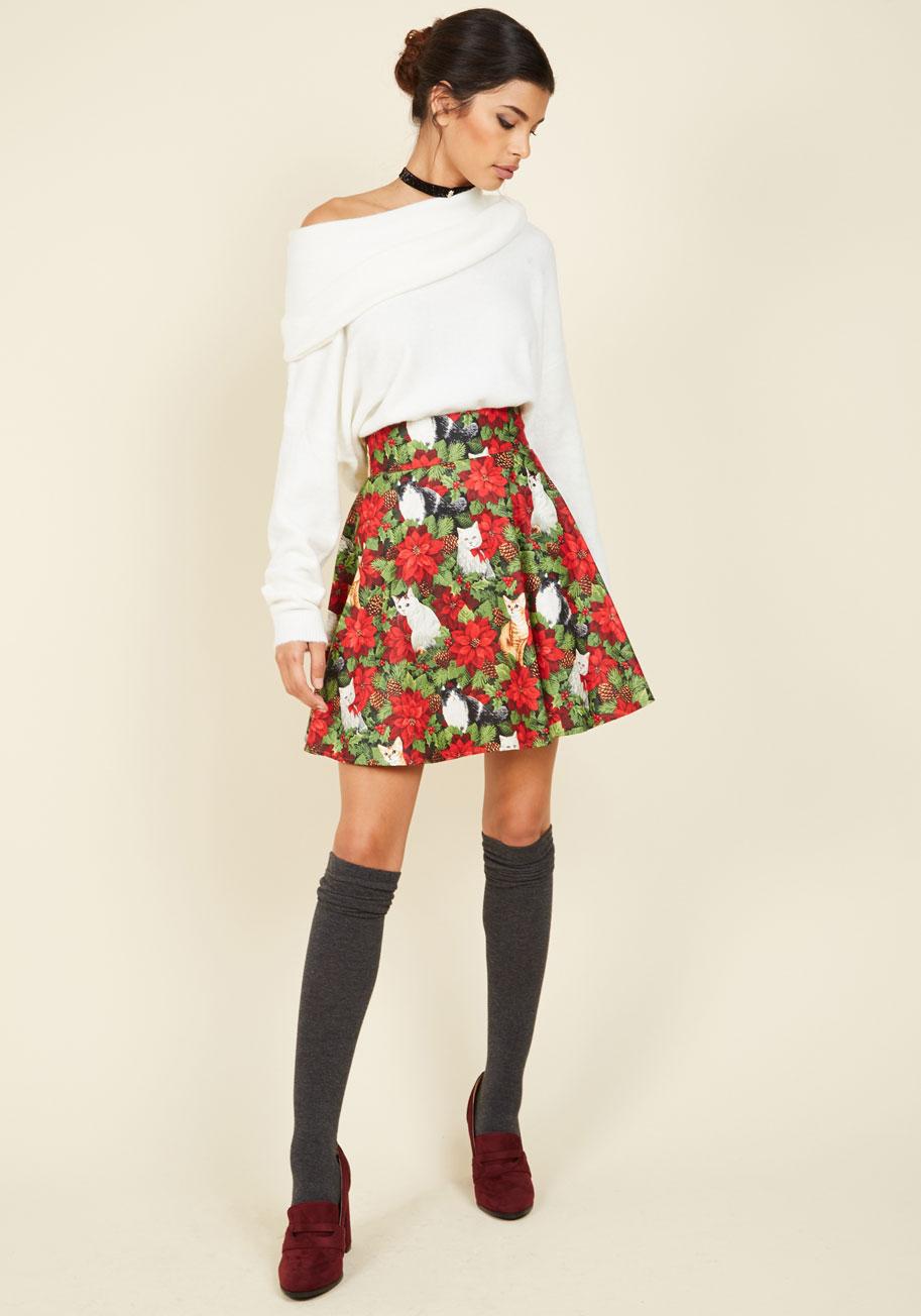 Playful Feeling Skater Skirt in Festive Felines, $49.99 @modcloth.com