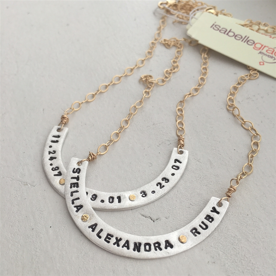 Handmade of silver, with 22kt gold painted accents, Isabella Grace Curved Bar Necklace, $145 @isabellegracejewelry.com