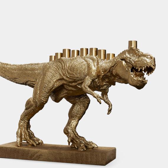 Gold Dinosaur Menorah, $39 @etsy.com
