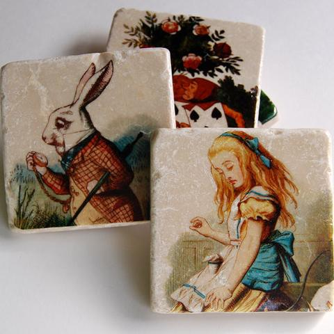 Alice in Wonderland Stone Coasters, $38 @birdfolkcollective.com For when they need to escape into cocktails, let them ask Alice