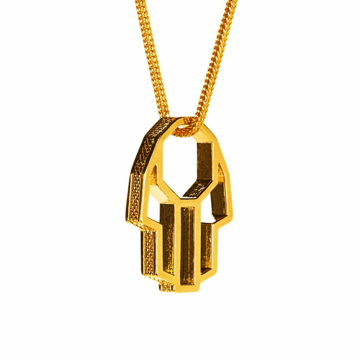 Perepaix Mens Necklace Hamsa Pendant Amulet Gold Plated, $249 @amazon.com