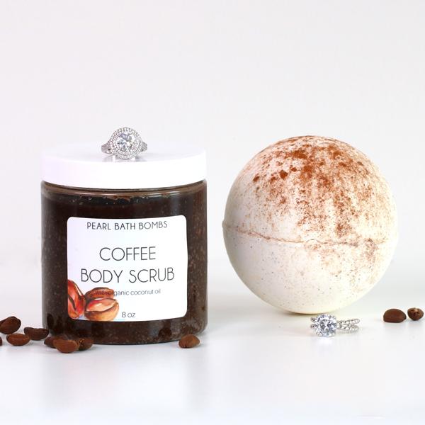Vegan/Cruelty-Free Coffee Body Scrub & Vanilla Chai Bath Bomb (that reveals a ring!), $38 @pearlbathbombs.com