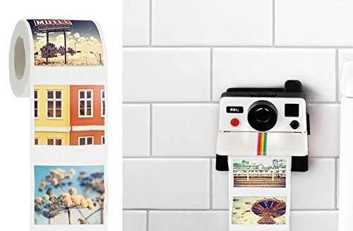 Polaroll Polaroid Camera Shaped Toilet Paper Roll Holder With Color Refill, $15