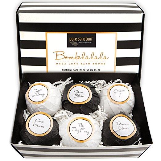Bath Bombs Gift Set - Luxury Bath Fizzies - Lush Size 6oz Natural Bath Balls - US Made/ Vegan, $22