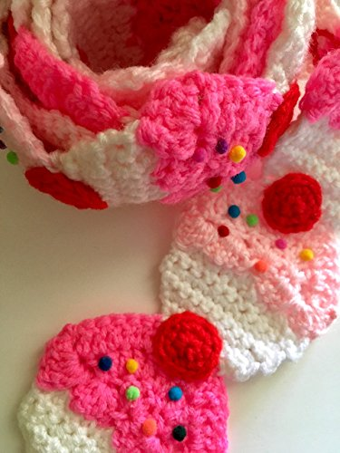 Pink Cupcake crochet scarf with sprinkles and a red cherry on top, $40