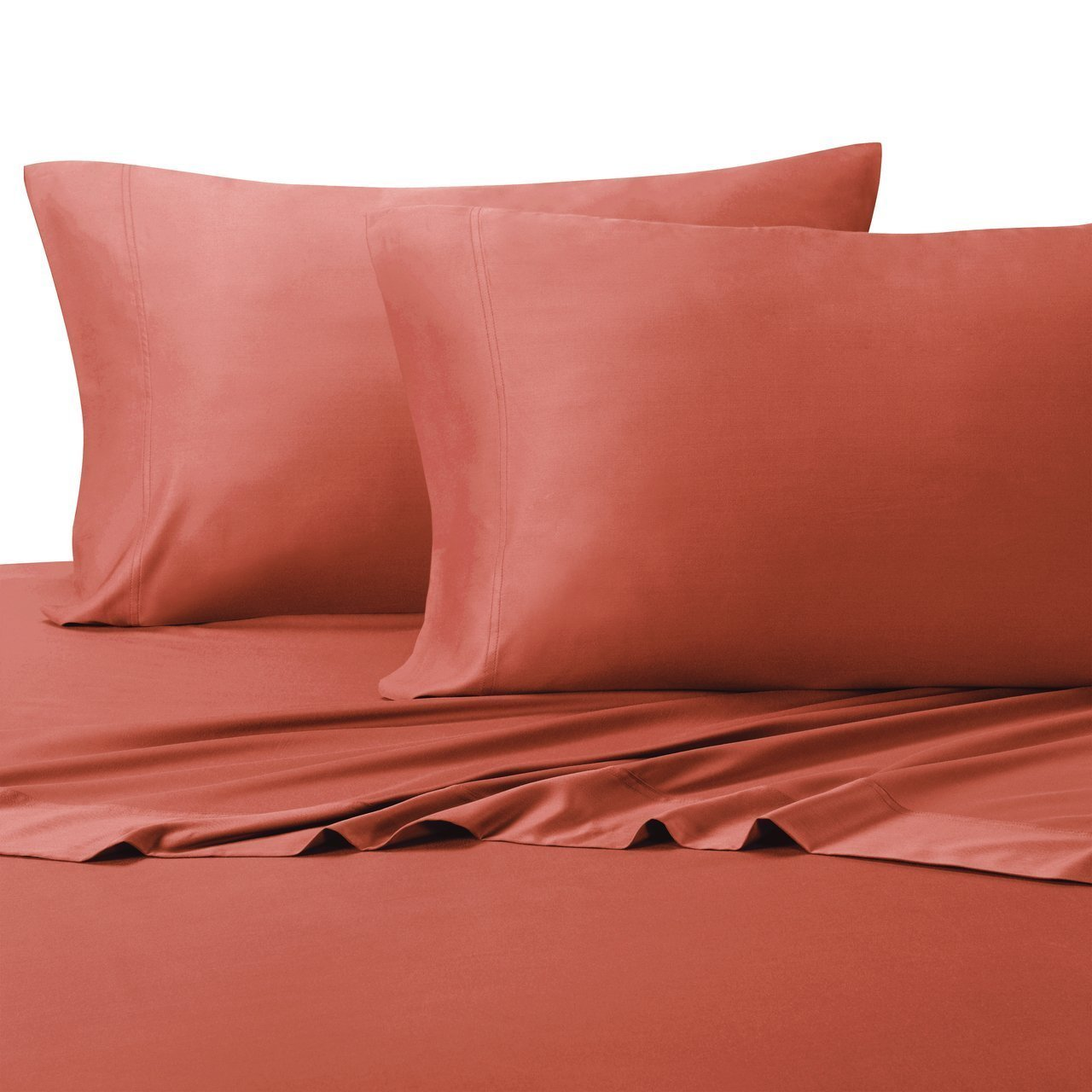 "Ultra Soft & Exquisitely Silky 100% Viscose from Bamboo Sheet Set, Hypo-Allergenic, 18"" Pockets, Coral, 4 Piece King Size Deep Pocket Sheet Set, $100"