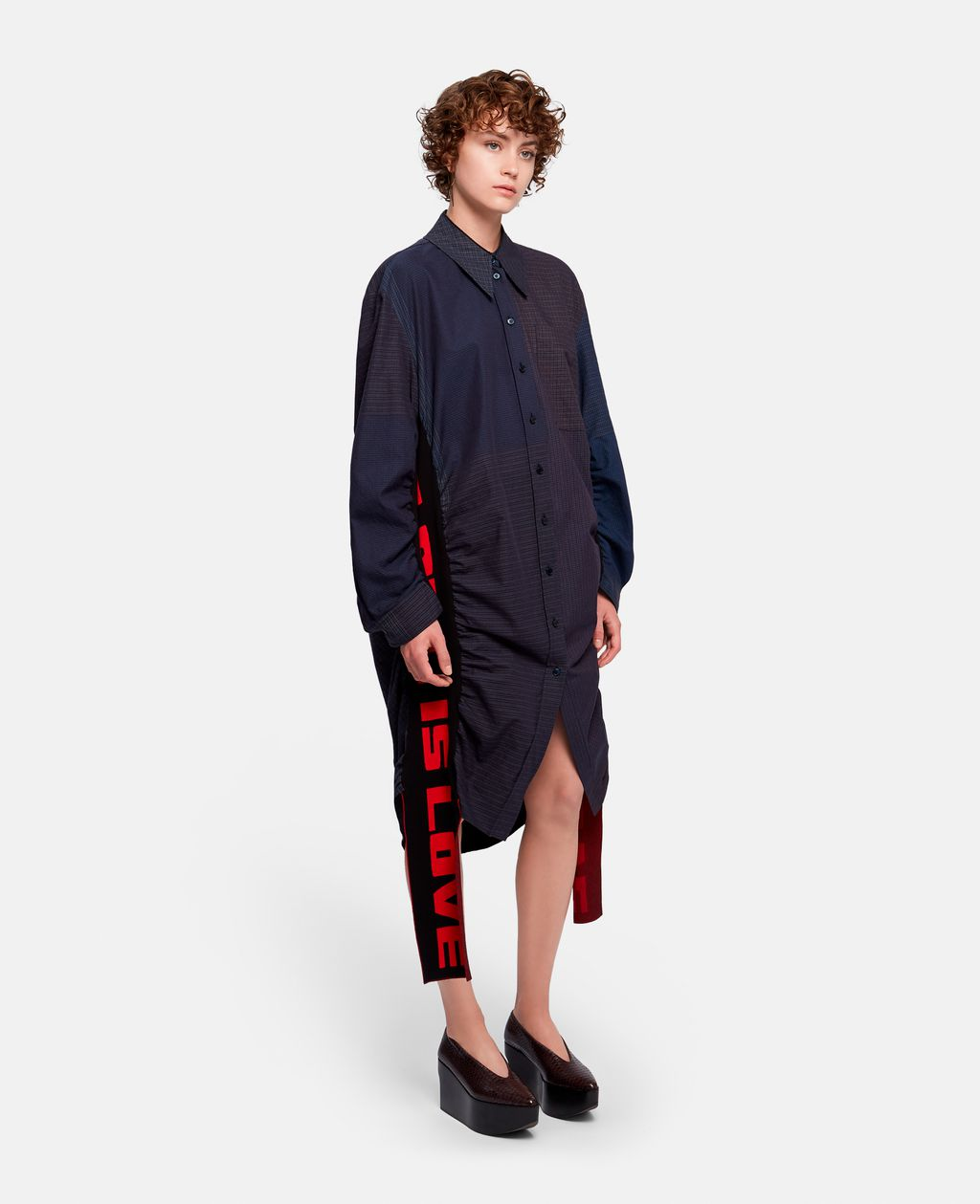 """Leave it up to Stella McCartney to design a casual Valentine's Day shirt dress. Proclaiming """"ALL IS LOVE"""" this wearable art would make any chic lady squeal with excitement. Raven All Is Love Dress, $1,495 @stellamccartney.com"""