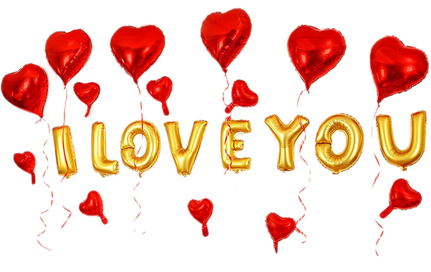 What a sweet surprise it would be to walk into this set of balloons! $14 @amazon, GOER 16 Inch I LOVE YOU Gold Alphabet Letters Foil Balloons Set for Valentine's Day
