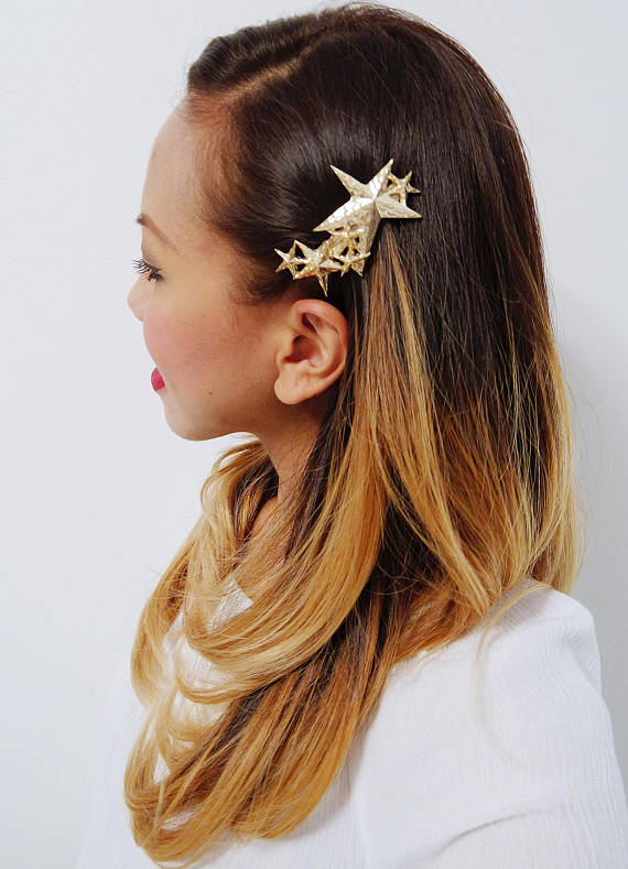 Gold Plated Star Hair Clip Barrette, $9 @etsy.com