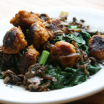 Vegan Sweet Potato Gnocchi with Wilted Spinach + Maitake Mushrooms