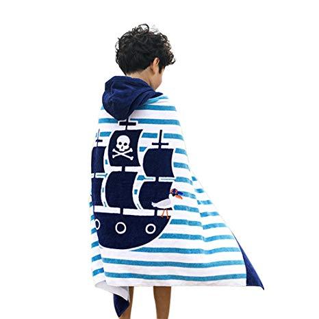 Boys Girls Hooded Poncho Beach Towel - Kids Cotton Bathrobe Swim Bath Blanket, $21 @amazon.com