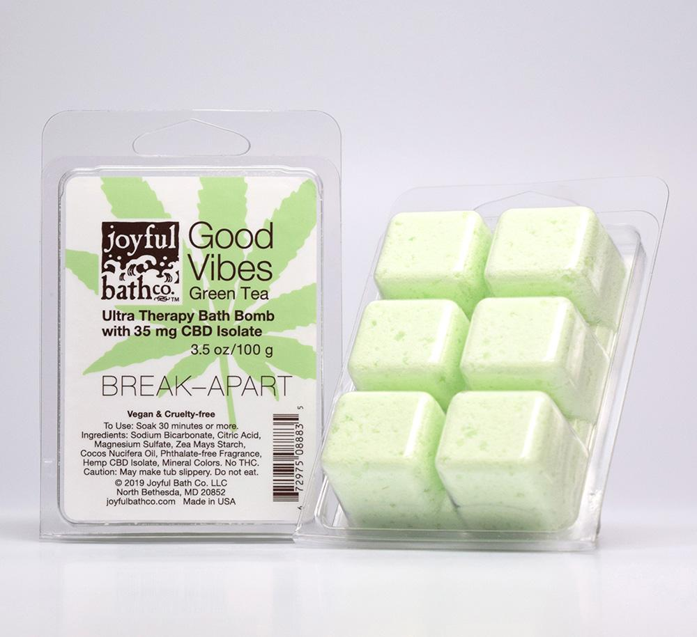 Good Vibes - Green Tea Hemp Break-Apart Bath Bomb Cubes, $12 @joyfulbathco.com