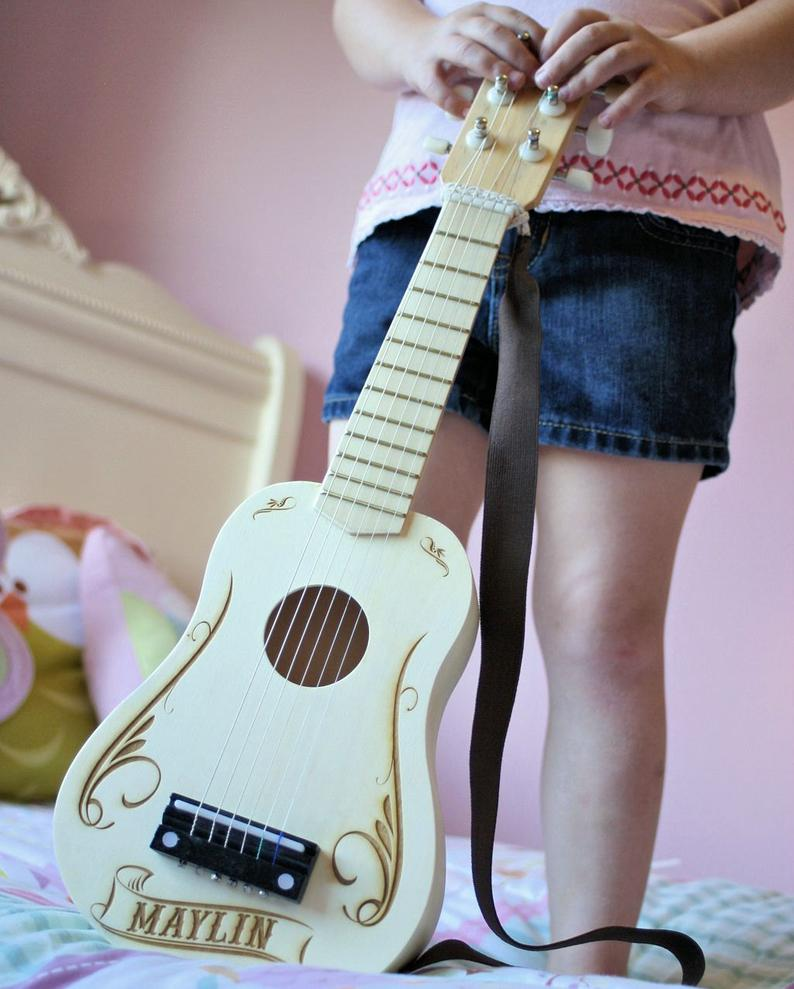 ScissorMill Personalized Kids Toy Guitar, $45 @etsy.com