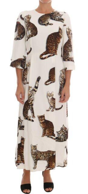 Dolce & Gabbana White Brown Cat Print Viscose Long Dress, $930@amazon.com