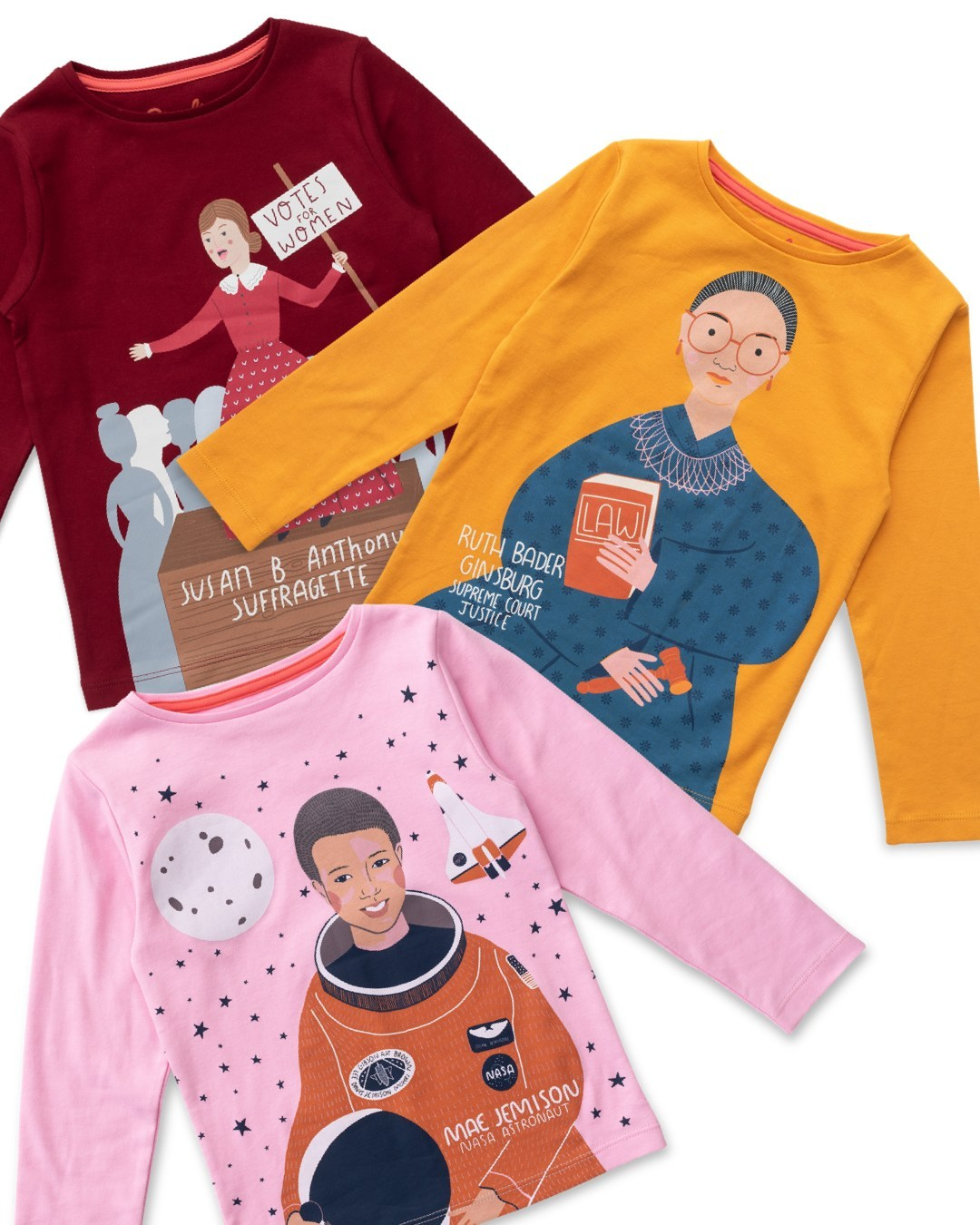 Piccolina's Trailblazer Tee Series comes in 13 designs including Susan B. Anthony, Ruth Bader Ginsburg and Mae Jemison. $28 @piccolinakids.com