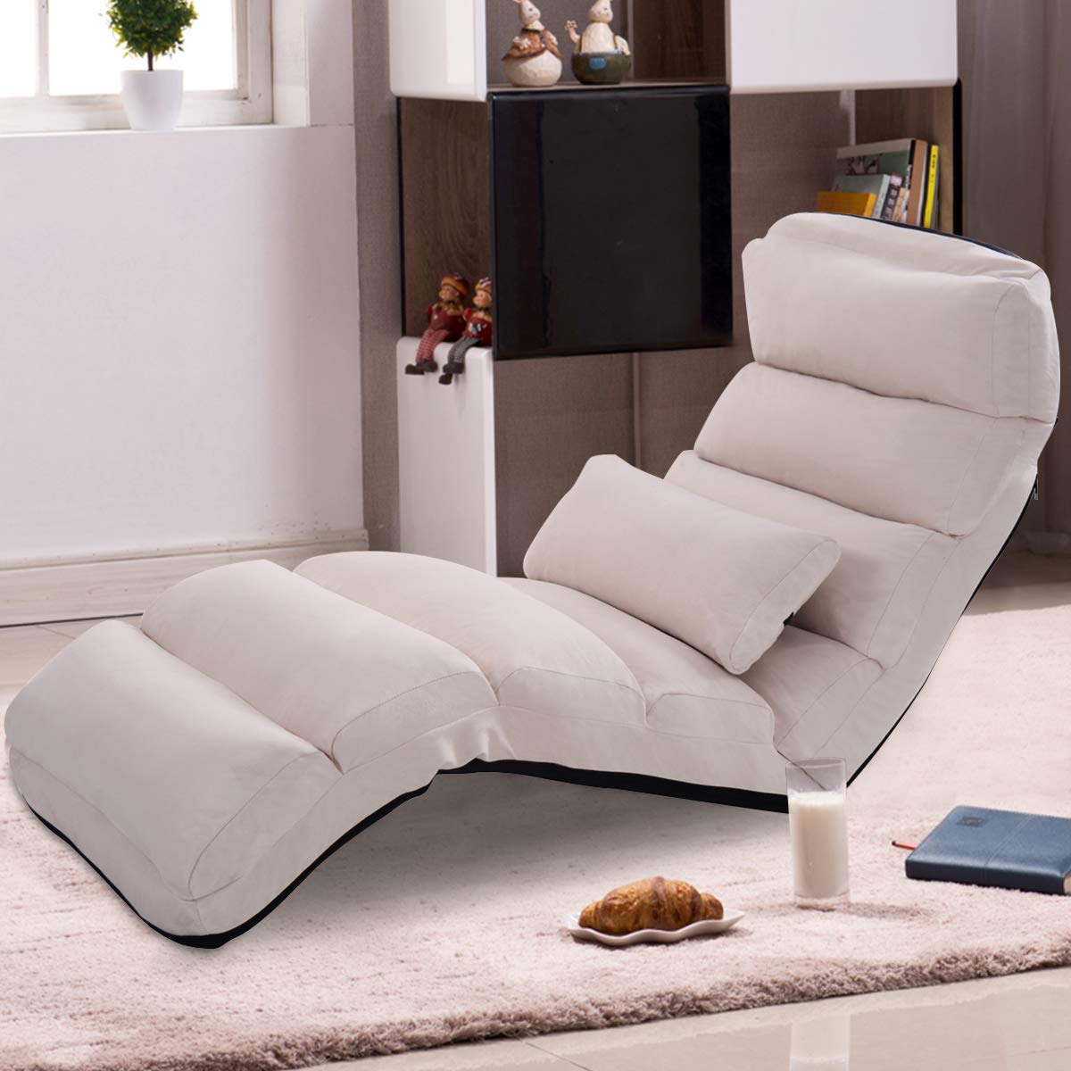 Giantex Folding Lazy Sofa W/Pillow (Beige), $92 @amazon.com