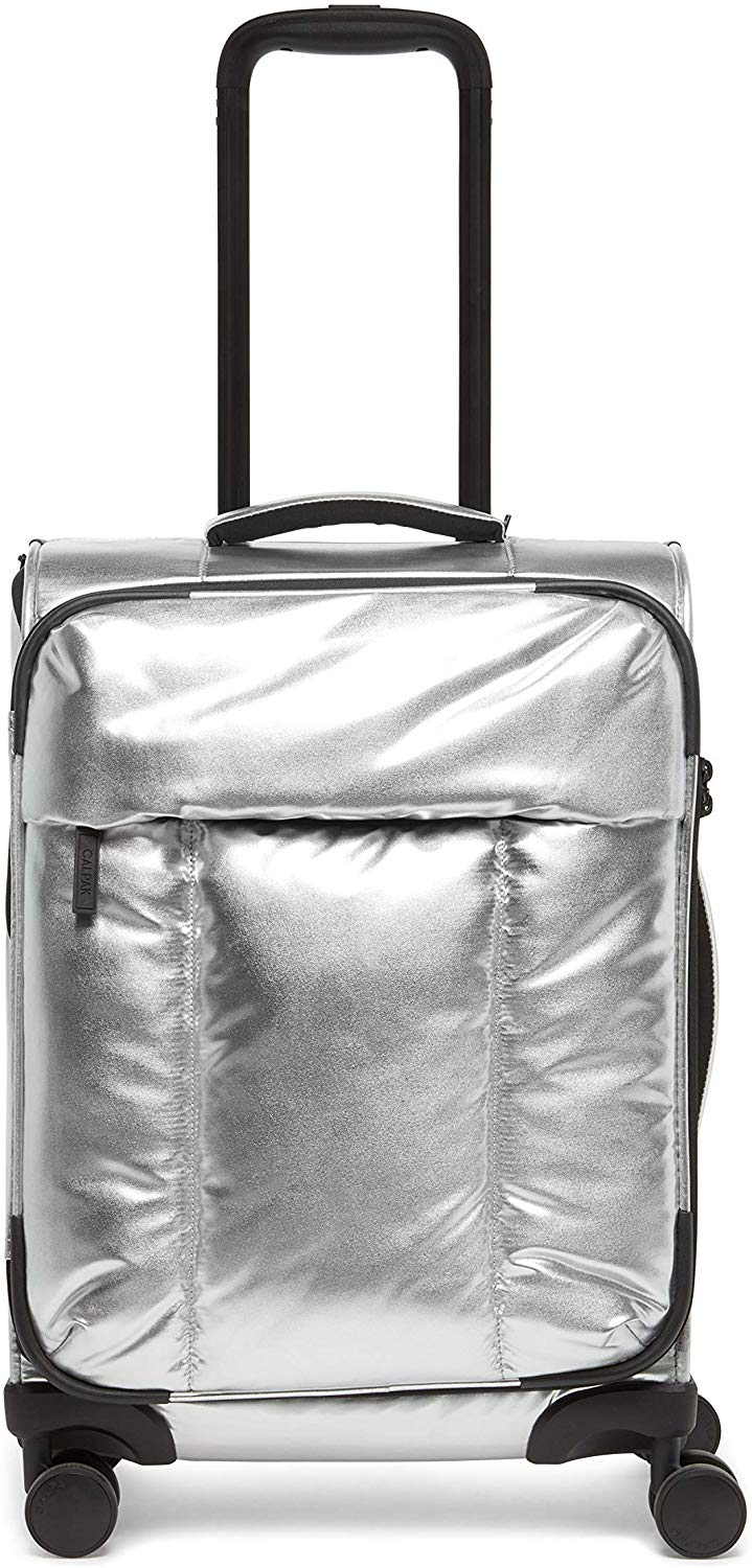 CALPAK Luka Carry-On Luggage Metallic Silver Softside Spinner Suitcase, $165 @calpaktravel.com