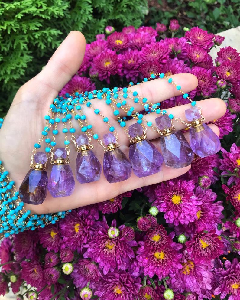 WingostarrJewelry Amethyst Perfume Bottle, $44 @etsy.com