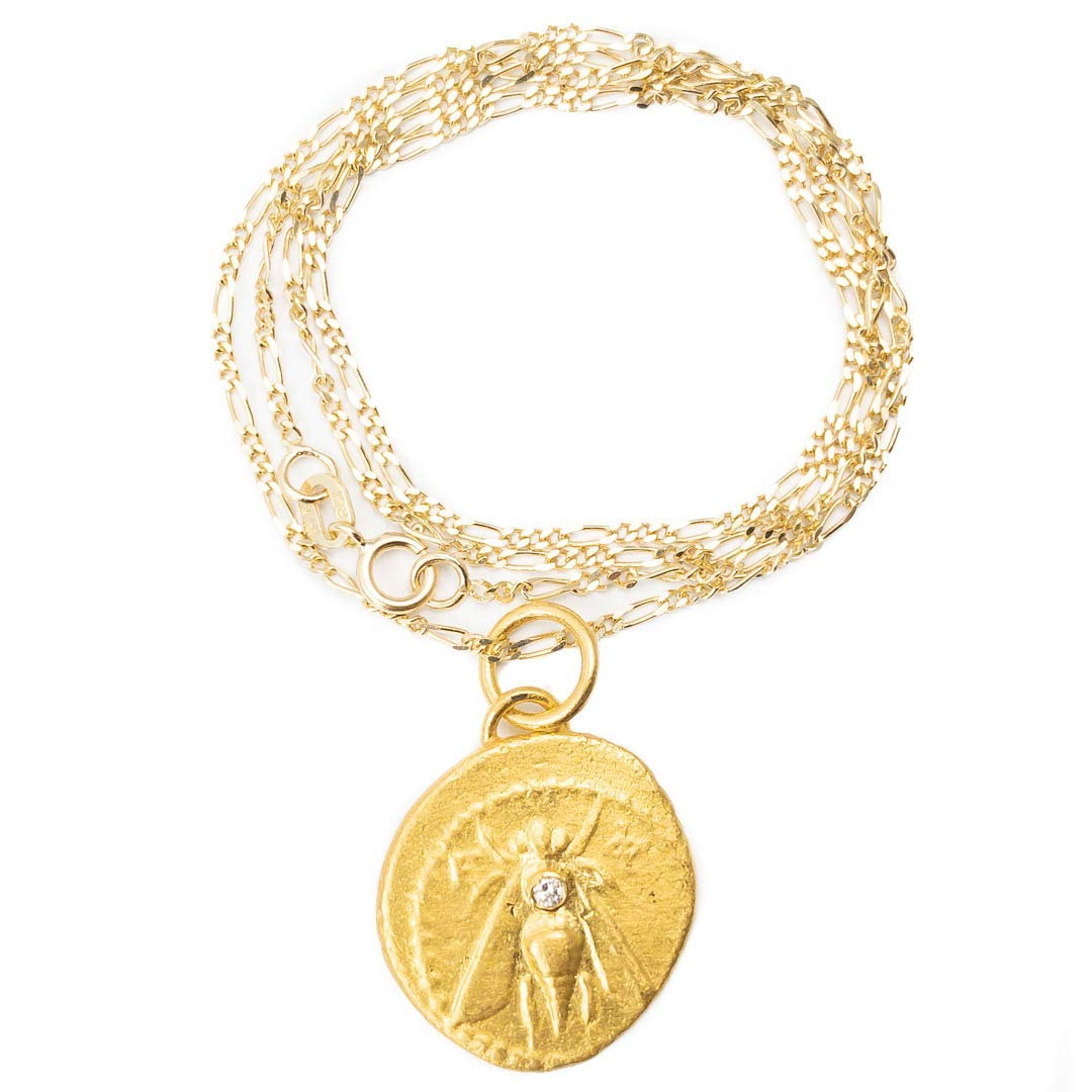 24k Solid Gold Artemis Bee Coin Pendant by Miller Mae Designs, $1675 @amazon.com
