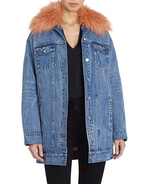 Avec Les Filles Women's Denim Trucker Jacket with Removable Faux Fur Lining, $84 @amazon.com