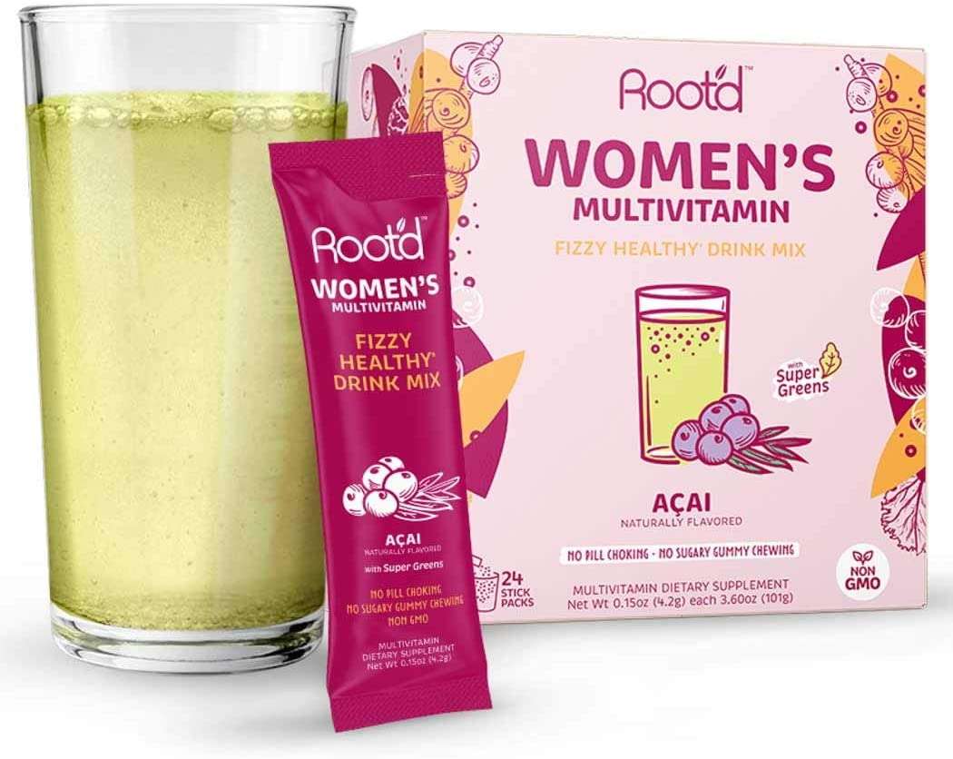 Rootd - Powder Multivitamin for Women - with 25 Vitamins & Minerals | Vitamin A, C, D, E, B12, B6, K, Iron, Probiotics, Electrolytes, Organic Super Greens | Natural Acai | 24 Effervescent Stick Packs, $25 @amazon.com