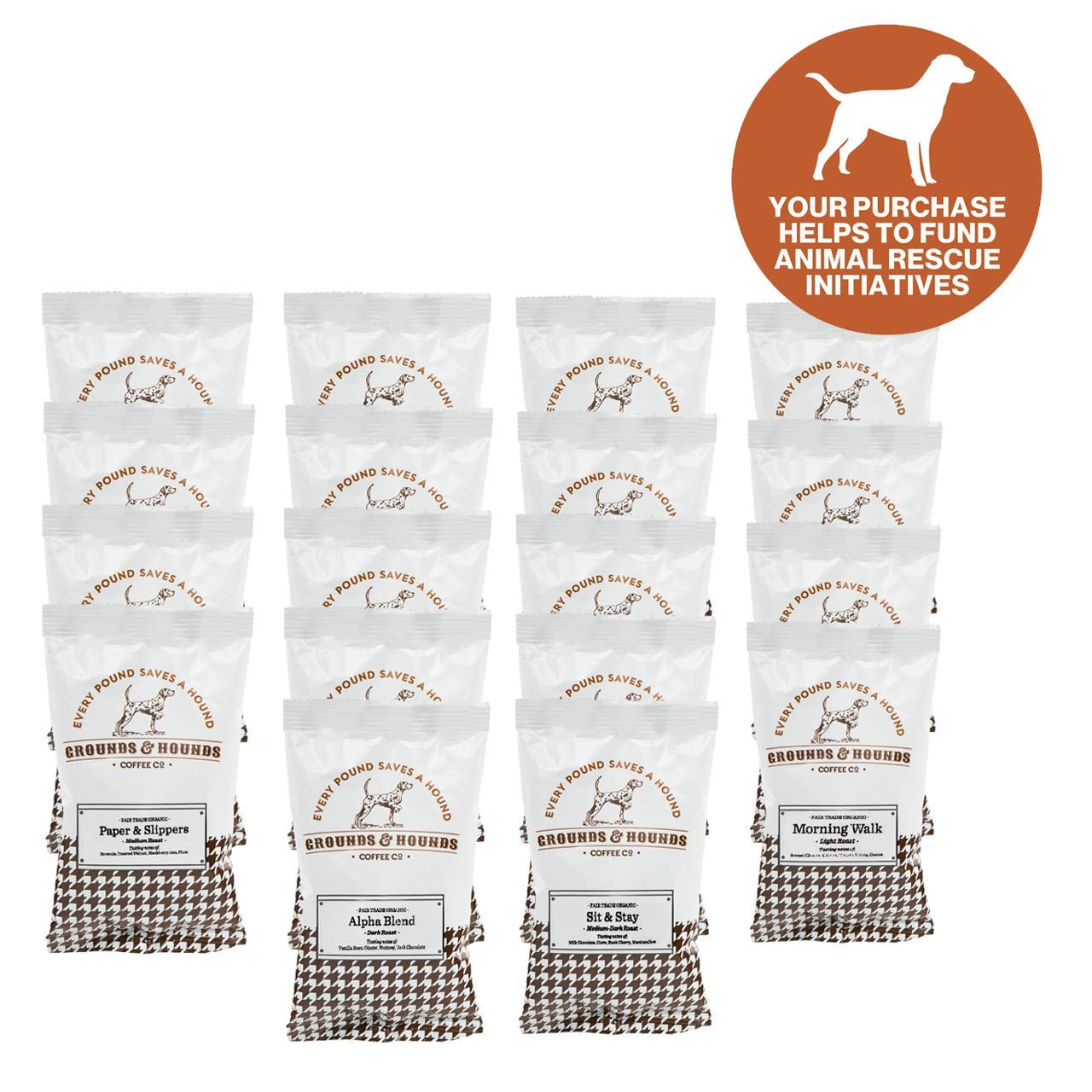 Grounds & Hounds Sample Packs - Ground Coffee - 100% Fair Trade Organic Ground Coffee Variety Frac Pack - Includes Eighteen - 2.5 oz. bags of our most popular Ground Coffee Blends (Coffee Variety), $40 @amazon.com