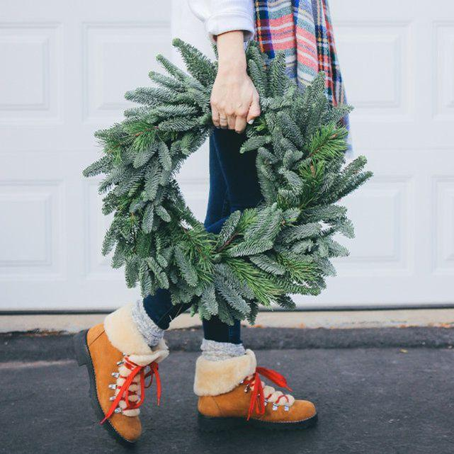 """20"""" Lodgepole Pine and Noble Fir Wreath - A Classic Holiday Wreath, $39 @bouqs.com"""
