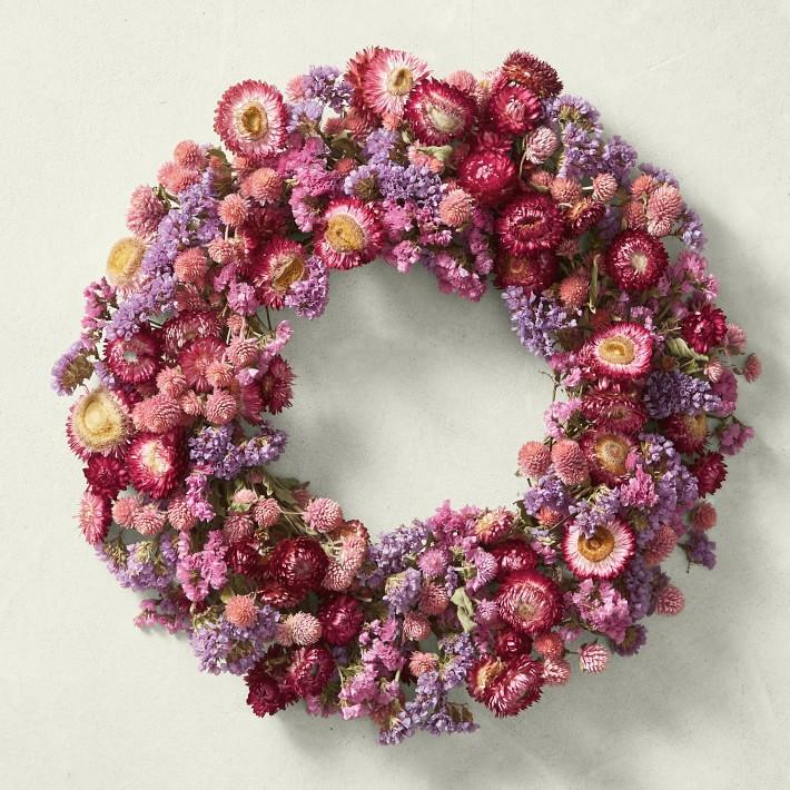 Pink Strawflower Wreath, $94 @williams-sonoma.com