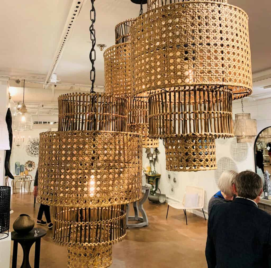 Multi Tiered Wicker Chandelier. Combination of weave types.