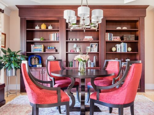Elegant study library bookshelves red chairs Interior Design Service