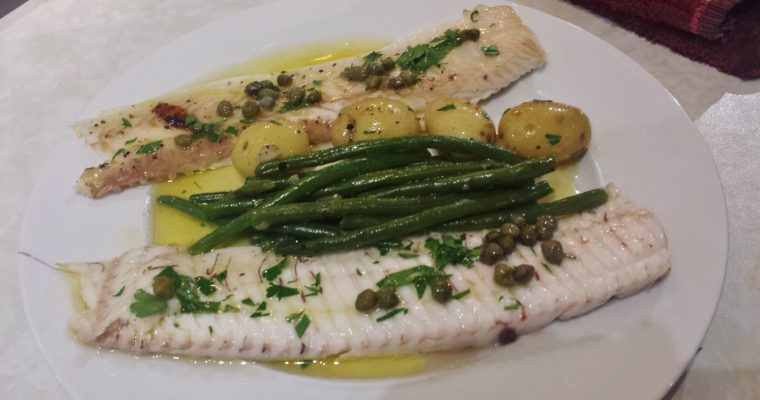 Grilled Dover Sole with Brown Butter Sauce and Capers