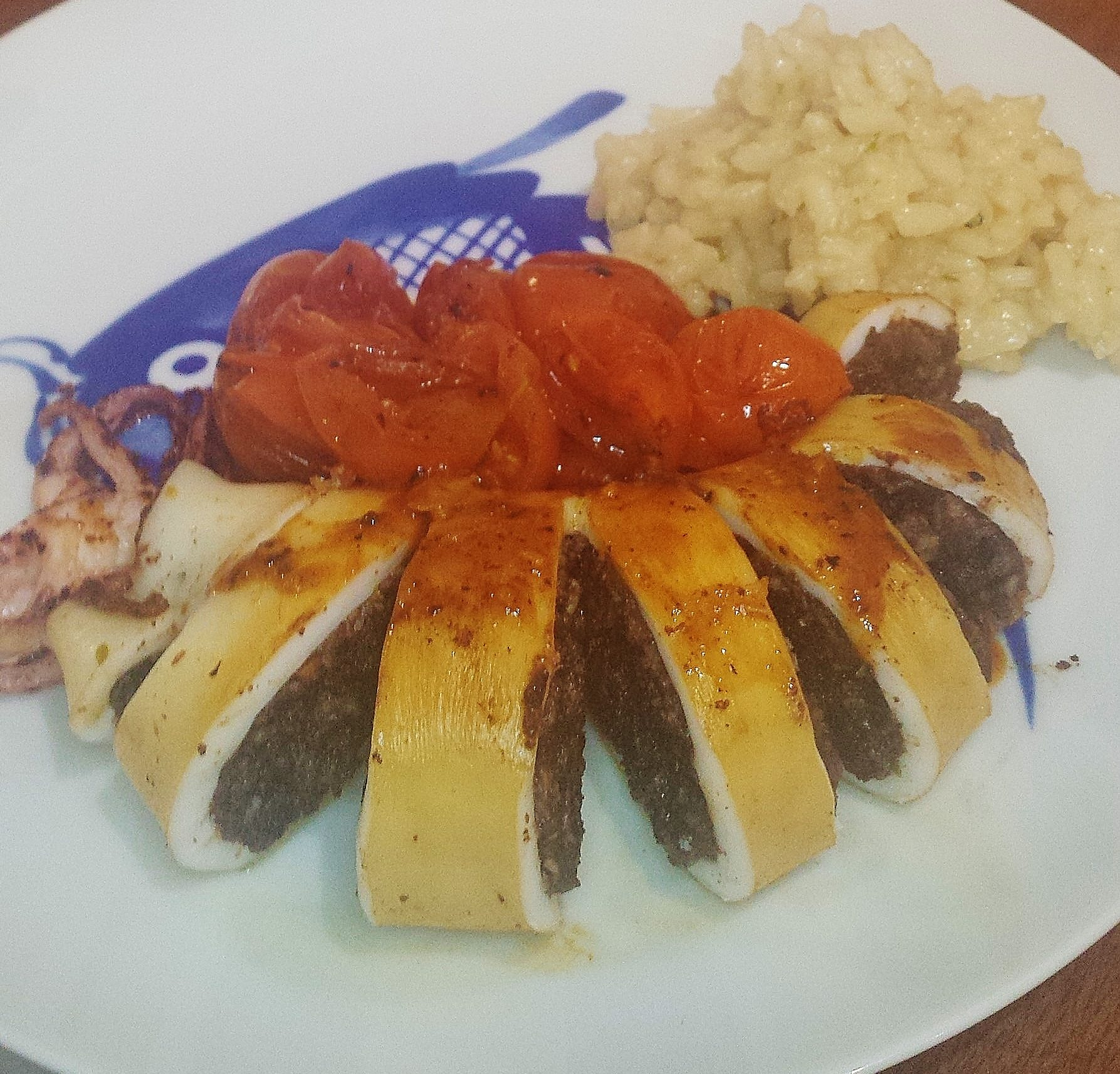 Squid with Black Pudding Stuffing