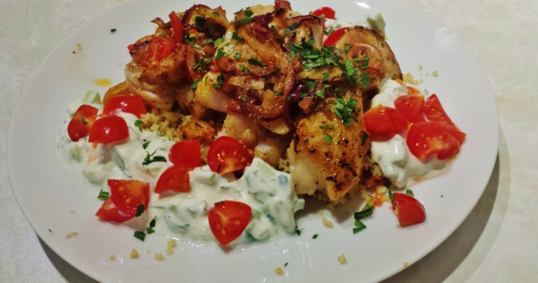 Turkish Spiced Hake with Yogurt Sauce