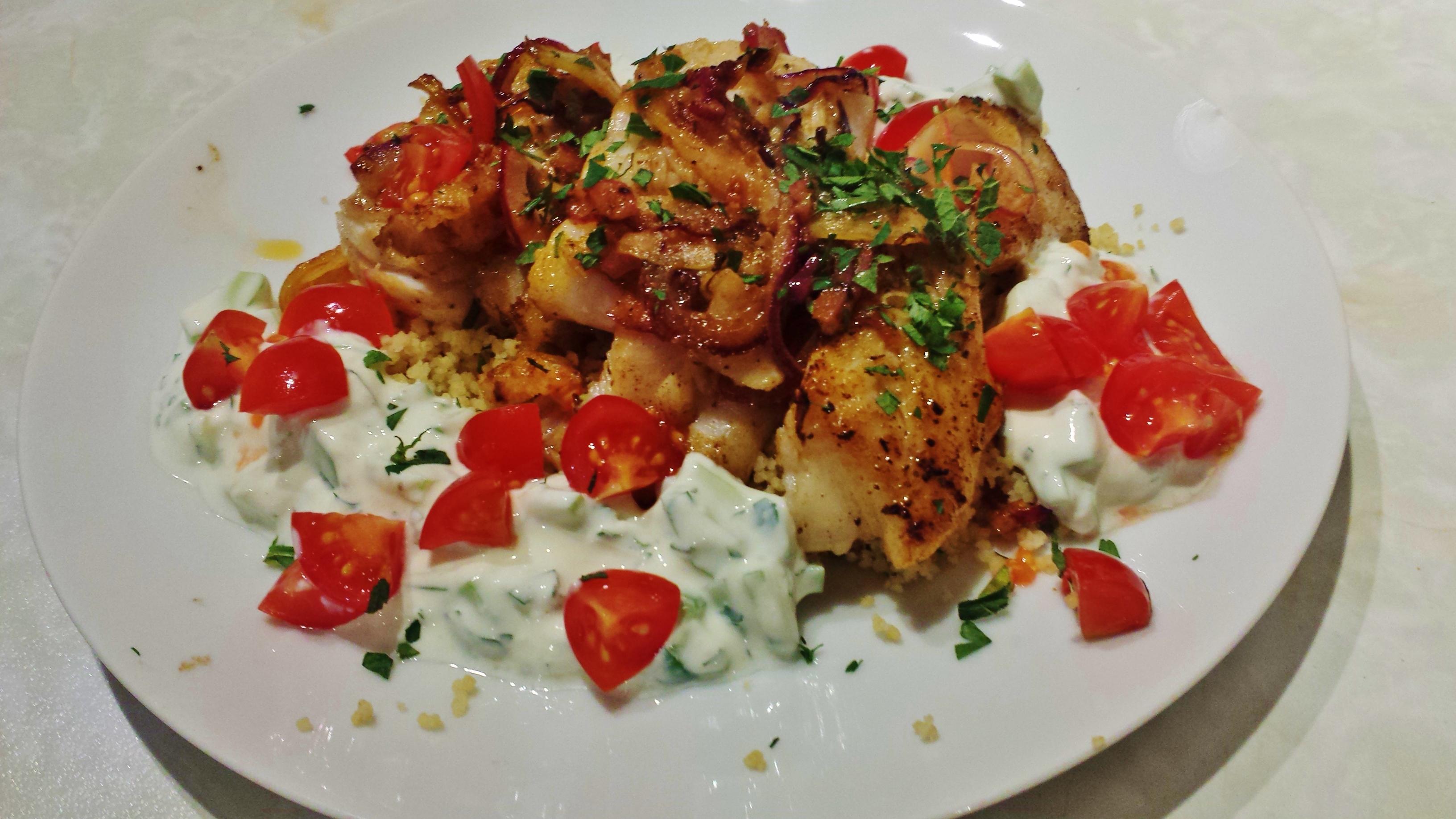 Turkish Spiced Hake with Yogurt Sauce