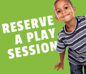 "Image of a young boy moving his body on a green background with the words ""Reserve a play session"""