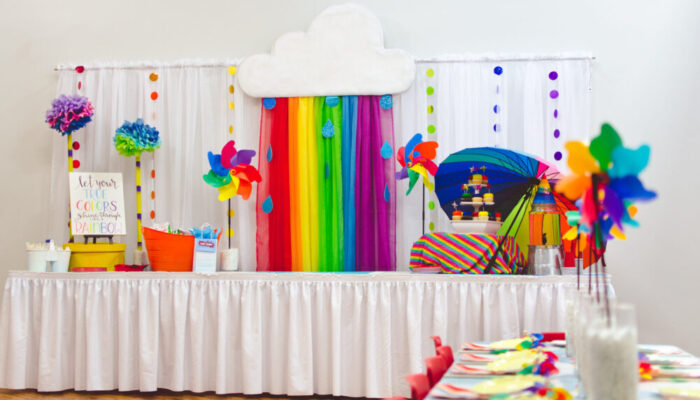 Deluxe rainbow-themed party at Tiny Town