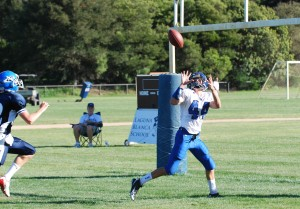 Cate's Luke Shover hauls in a 27-yard touchdown pass from Mackie Greason in the second quarter