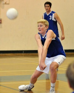 San Marcos sophomore Shane Hauschild makes a dig for the Royals on Saturday.