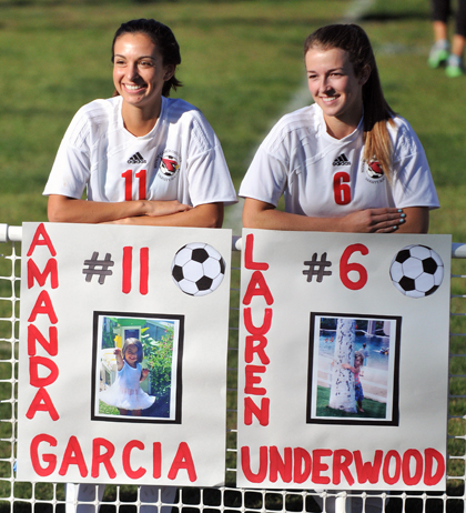 Amanda Garcia and Lauren Underwood were two of seven seniors honored on Senior Day by Bishop Diego on Thursday.
